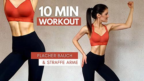 Flacher Bauch – straffe Arme – 10 Min Workout – Oberkörper Workout – Workout für Zuhause – Tina Halder – Tina.Fitness